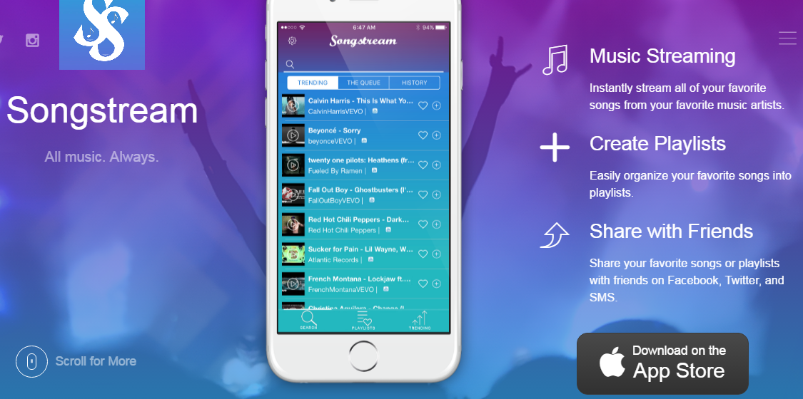 SongStream – Listen to youtube songs in the background
